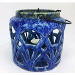Luminaria de Ceramica Azul para Vela