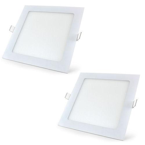 Luminária Led Plafon de Embutir Quadrado 18w Branco Quente Kit 2