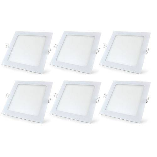 Luminária Led Plafon de Embutir Quadrado 18w Branco Quente Kit 6