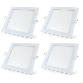 Luminária Led Plafon de Embutir Quadrado 18W Branco Quente Kit 4