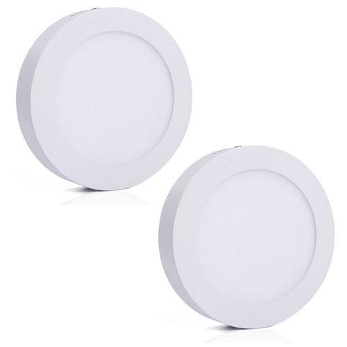 Luminária Painel Led Plafon de Sobrepor Redondo 12w Branco Frio Kit 2
