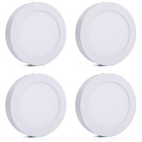 Luminária Painel Led Plafon de Sobrepor Redondo 12W Branco Frio Kit 4