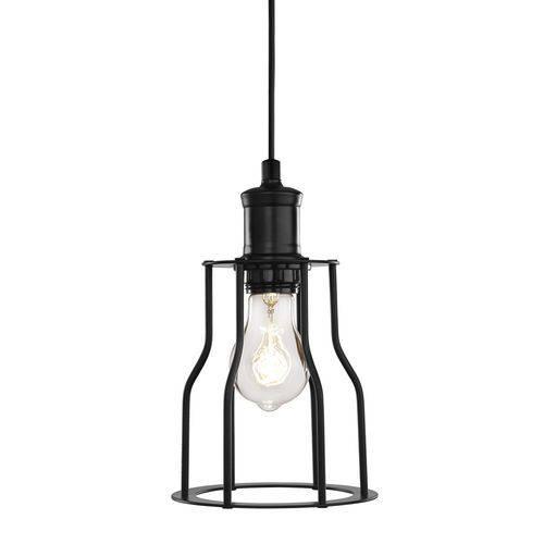 Luminária Lustre Pendente Industrial 15x26x15cm Metal Preto