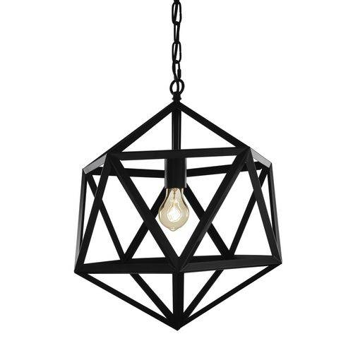 Luminária Lustre Pendente Industrial 31x37x31cm Metal Preto