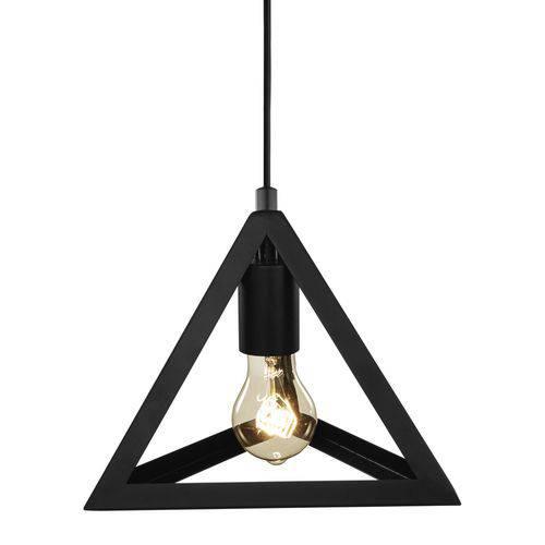 Luminária Lustre Pendente Industrial 25x21x22cm Metal Preto