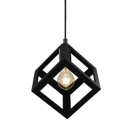 Luminária Lustre Pendente Industrial 22x28x22cm Metal Preto