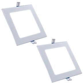 Luminária Led Plafon de Embutir Quadrado 15W Branco Quente Kit 2