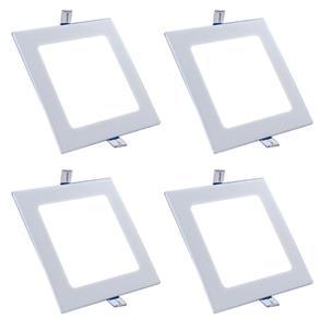 Luminária Led Plafon de Embutir Quadrado 12W Branco Quente Kit 4