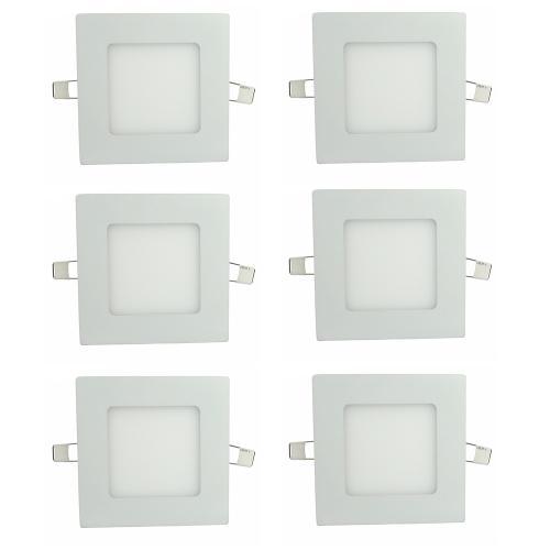 Luminária Painel Led Plafon de Embutir Quadrado 3w Branco Frio Kit 6 - Embutir 3w Bq Q Kit 6