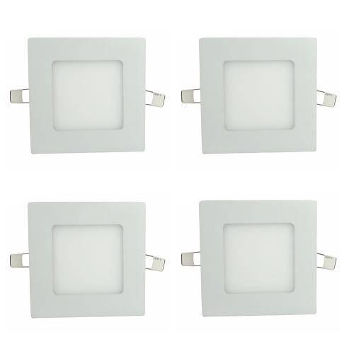 Luminária Painel Led Plafon de Embutir Quadrado 3w Branco Frio Kit 4 - Embutir 3w Bf Q Kit 4