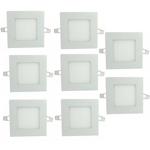 Luminária Painel Led Plafon de Embutir Quadrado 3W Branco Frio Kit 8 - Embutir 3w BF Q Kit 8
