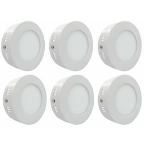 Luminária Painel Led Plafon de Sobrepor Redondo 6W Branco Frio Kit 6