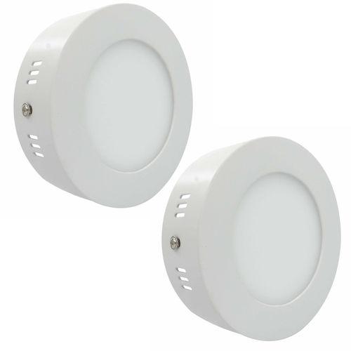 Luminária Painel Led Plafon de Sobrepor Redondo 6w Branco Frio Kit 2