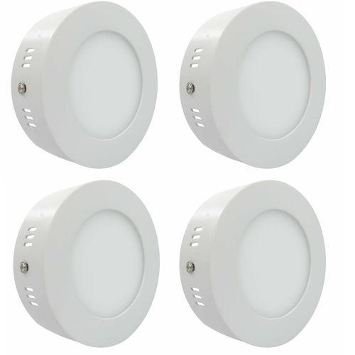 Luminária Painel Led Plafon de Sobrepor Redondo 6w Branco Frio Kit 4