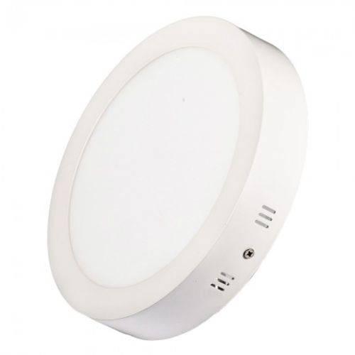 Luminária Painel Plafon 18w Led Redondo Sobrepor Branco Quente
