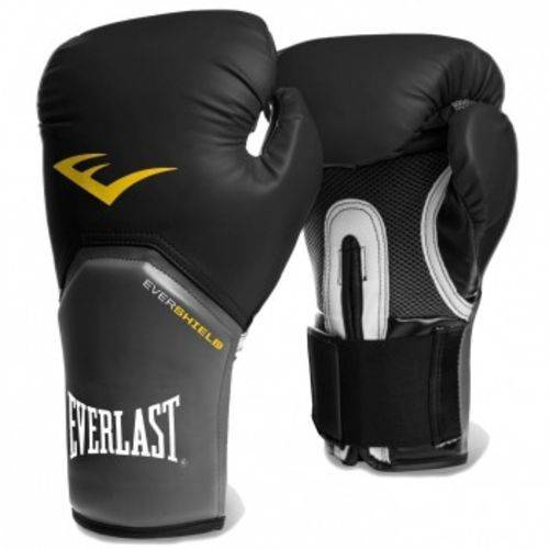 Luva Boxe Everlast Pro Style Elite Training 12 Oz Preta com Cinza