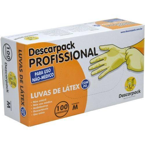 Luva de Látex com Pó Profissional não Uso Médico Descarpack Cx/100 Unidades Tamanho M