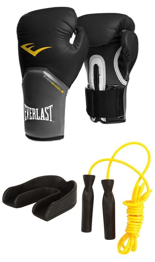 Luva Pro Style Elite Preta + Protetor Bucal Simples + Corda de Pular - Everlast - 14 Oz