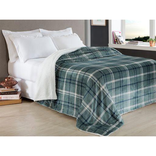 Manta Escócia Queen Xadrez Azul Home Design Corttex
