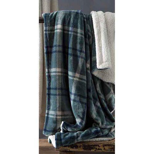 Manta Queen Escócia Xadrez Azul 100% Poliéster Home Design Corttex