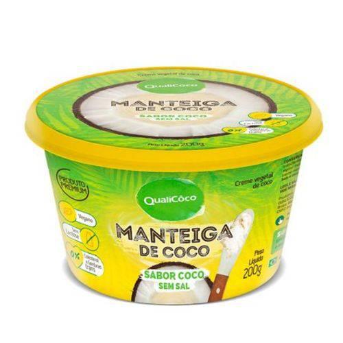 Manteiga de Coco Sabor Coco Sem Sal 200g Qualicoco