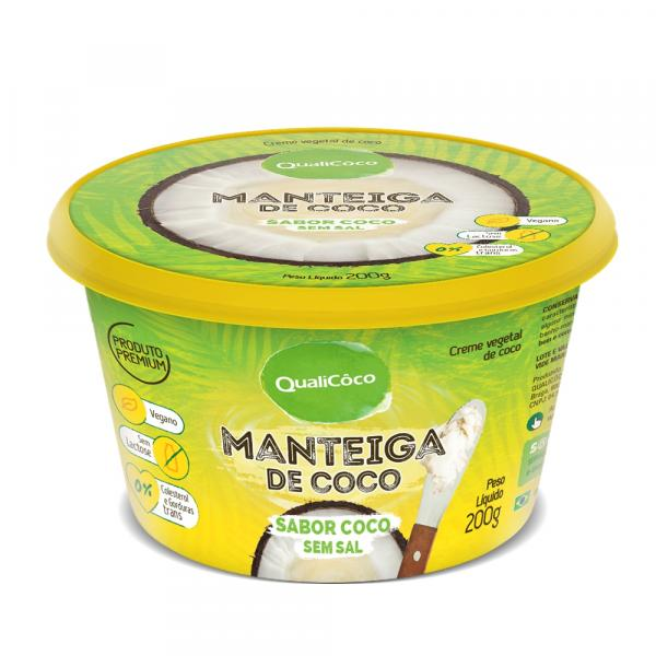 Manteiga de Coco Sabor Coco Sem Sal Qualicôco 200g - Qualicoco