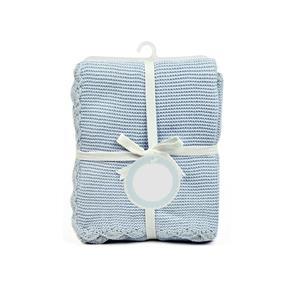 Mantinha de Tricô para Bebês Azul
