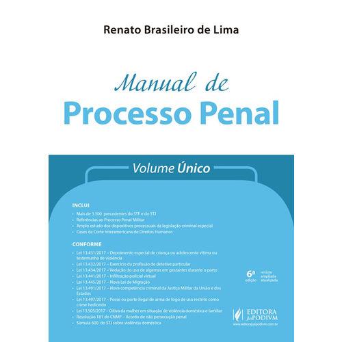 Manual de Processo Penal - Volume Único (2018)