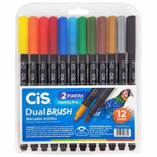 Marcador Artístico 12 Cores Dual Brush Aquarelável Cis 1028523
