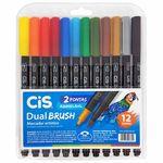 Marcador Artístico 12 Cores Dual Brush Aquarelável Cis