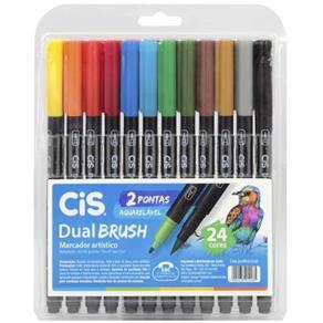 Marcador Artístico Dual Brush Aquarelável Cis 24 Cores