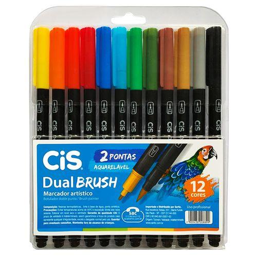 Marcador Artístico Dual Brush Aquarelável com 12 Cores - Cis