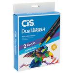 Marcador Artístico Dual Brush Aquarelável com 36 Cores - Cis