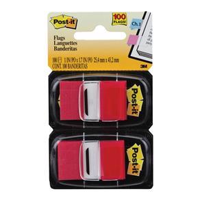 Marcador de Página Post-it Flag Vermelho Adesivo 25,4 X 43,2mm 100 Folhas 3M