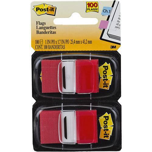 Marcadores de Página Adesivos Post-It Flags Vermelho 100 Folhas - 3M