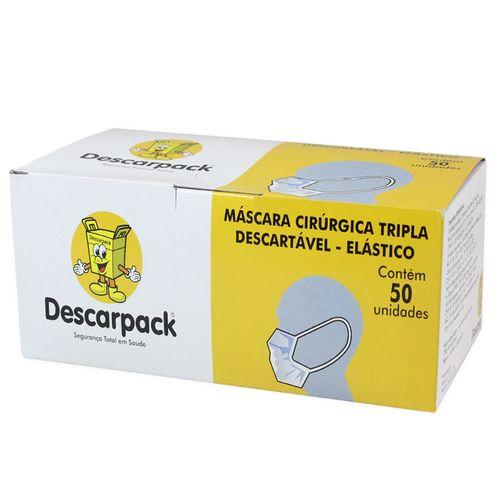 Máscara Cirúrgica Tripla Descartável com Elástico 50un - Descarpack