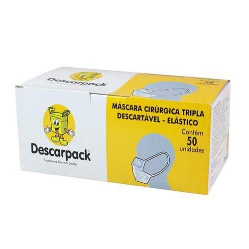 Máscara Cirúrgica Tripla Descartável com Elástico - com 50 Un - Descarpack