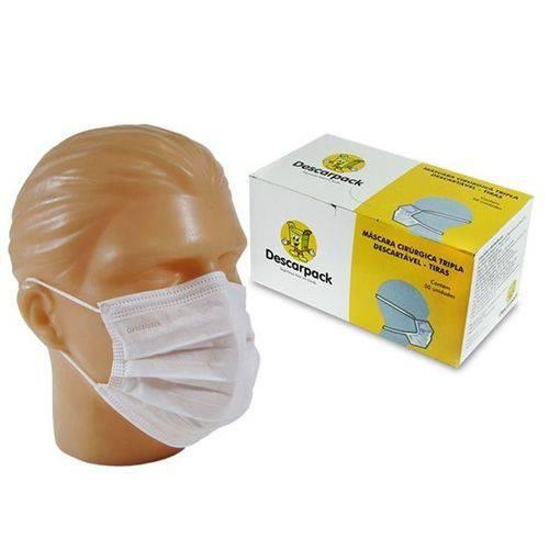 Máscara Cirúrgica Tripla Descartável - Elástico - C/50