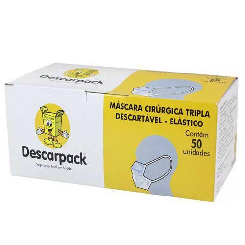 Máscara Tripla Descartável Descarpack com Elástico (50 Unidades / Caixa)
