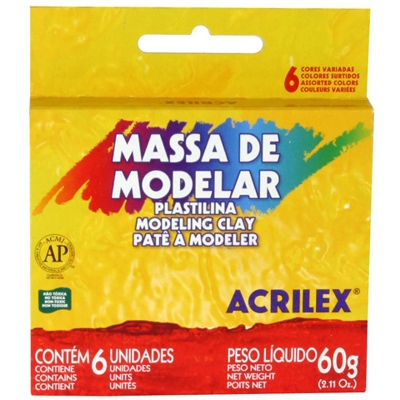 Massa Modelar Acrilex 060 G 006 Cores 07060