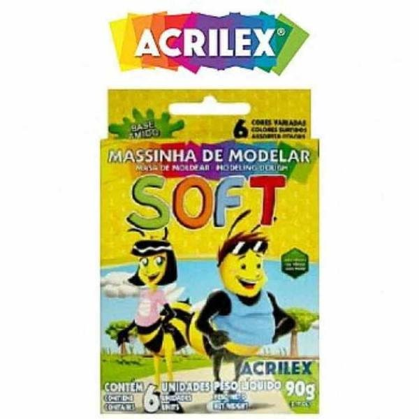 Massa Modelar Soft 6 Cores 90g Acrilex