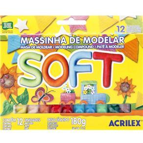 Massinha de Modelar Soft Acrilex 07312 - C/ 12 Cores