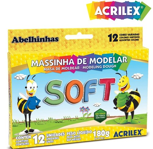 Massinha de Modelar Soft Acrilex C/ 12 Cores 07312