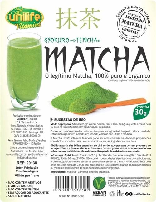 Matcha Puro e Organico Legítimo Sóluvel 3X30G Unilife (Natural)