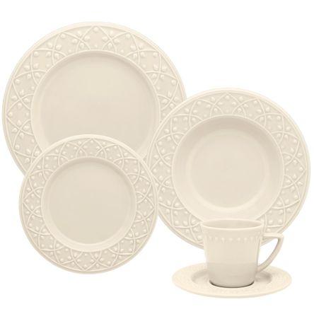 Mendi Marfim Aparelho de Jantar e Chá 20 Peças