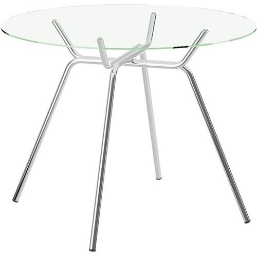 Mesa com Tampo de Vidro - 1527 - Móveis Carraro - Cromado
