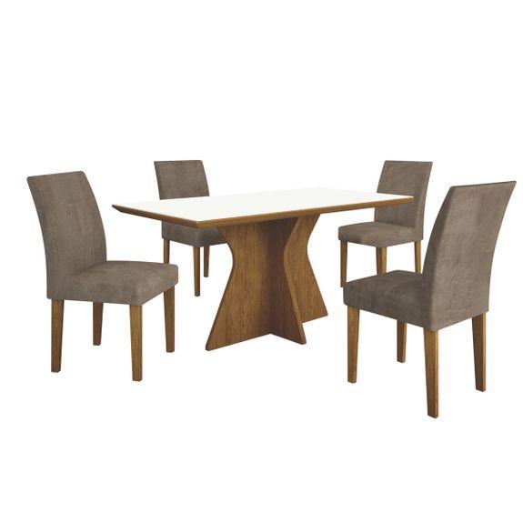 Tudo sobre 'Mesa de Jantar Creta 4 Cadeiras - Imbuia Mel'