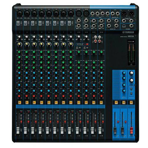 Mesa de Som Analógica Yamaha MG16 Preta com 16 Canais Pré-Amplificador D-PRE 8 Entradas de Microfone
