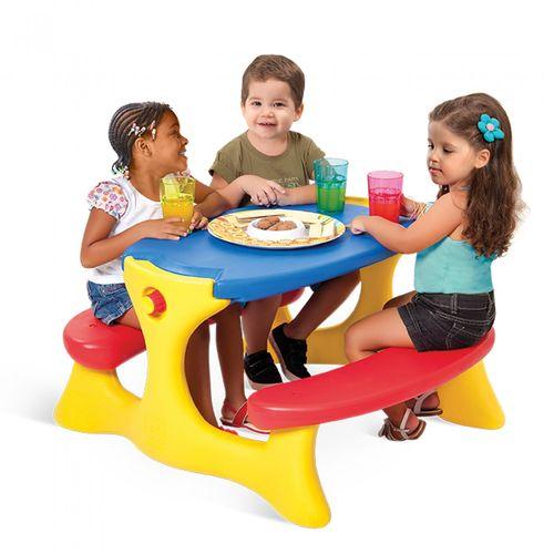 Mesa Recreio com 4 Lugares Azul Brinquedos Bandeirante Azul