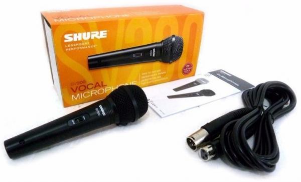 Microfone Dinamico Shure Original com Cabo Sv-200